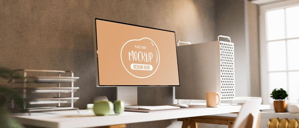 三维渲染家庭办公桌与电脑模型