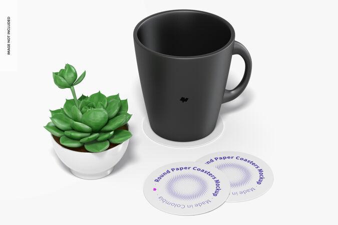 圆纸杯垫模型