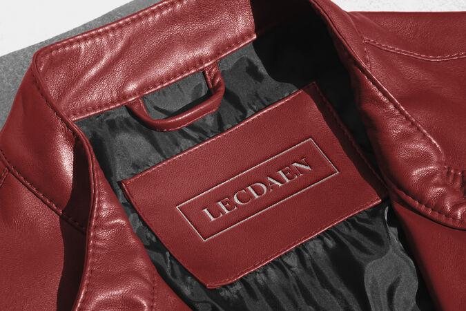 标志样机红色皮夹克标签