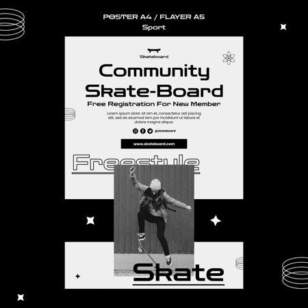 滑板海报模板