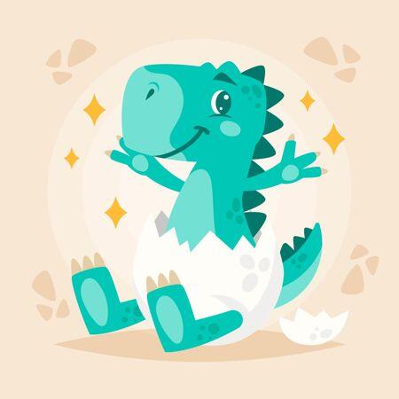 有机平面可爱的恐龙宝宝插图