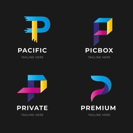 渐变p字母标志系列