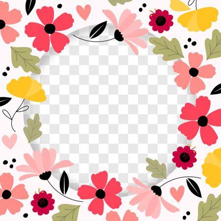手绘花卉脸谱框架