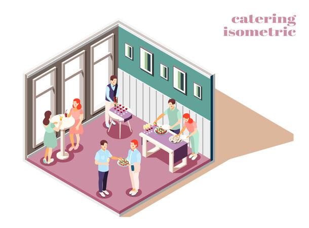 餐饮和宴会室内等距组成与食品和饮料插图