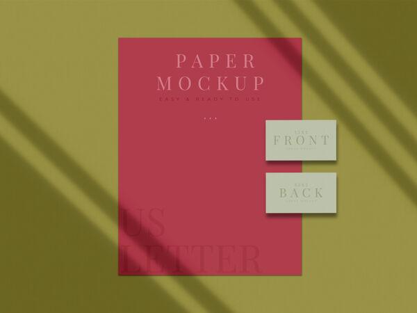 现代文具模型设计的品牌 企业形象 平面设计师介绍与阴影覆盖