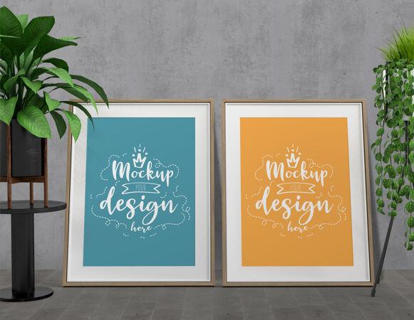 样板海报框架与家居装饰在客厅现代室内样板随时可用