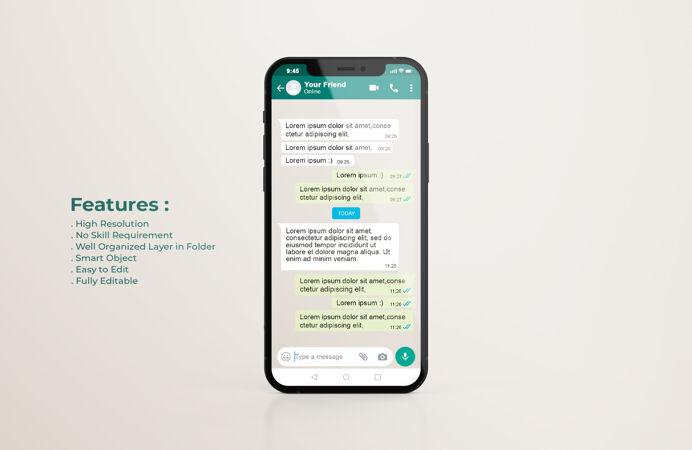 手机模型上的Whatsapp接口模板