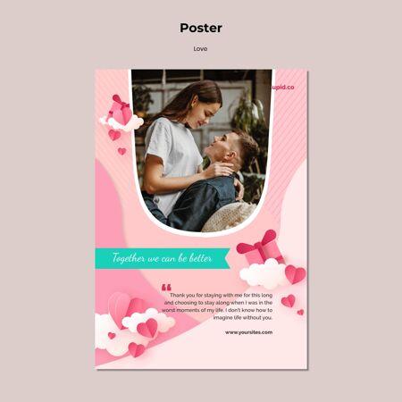 可爱的情侣海报模板