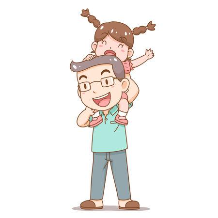父亲节父亲扛着女儿的卡通插画